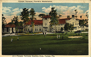 Florida College - Florida College's Sutton Hall, formerly the Temple Terrace Golf and Country Club, 1920s postcard