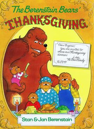 "The Berenstain Bears Meet Bigpaw - Cover of storybook version of ""Meet Bigpaw,"" entitled ""The Berenstain Bears' Thanksgiving,"" published by Scholastic (1997)."