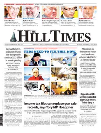 The Hill Times - Front page of the December 5, 2011, issue of The Hill Times