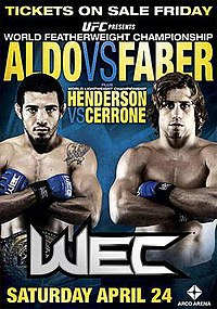 A poster or logo for WEC 48: Aldo vs. Faber.