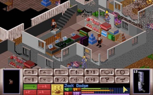 UFO: Enemy Unknown - A gameplay screenshot of the turn-based Battlescape tactical combat mode, showing an Alien Terror type mission in urban environment, featuring civilians (click on the image for a more detailed description)
