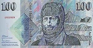 Australian one hundred-dollar note - Sir Douglas Mawson
