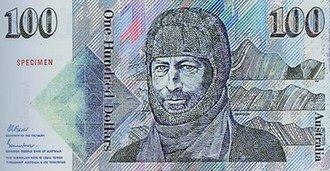 Australian one hundred-dollar note - Sir Douglas Mawson