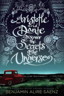 "Cover art for ""Aristotle and Dante Discover the Secrets of the Universe"", which depicts an empty red pickup truck parked in the middle of an empty field in the Southwestern United States.  Above the truck are a number of symbols, including a skull, flowers, a book, rainclouds, the sun, question marks, and indigenous designs."
