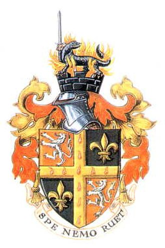 "Spennymoor - The arms of the Town Council include a motto inspired by the name Spennymoor: SPE NEMO RUET (meaning ""With hope, no one shall fail"")"