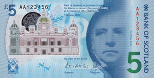 Banknotes of Scotland - The front of a Bank of Scotland £5 note from the polymer series