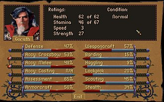 Betrayal at Krondor - Character sheet. Two skills - melee and crossbow accuracy - are emphasized, as indicated by the red pommels of the swords.