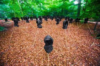 Chibok schoolgirls kidnapping - Nigerian artist Sarah Peace created a public art installation in Epping Forest depicting the missing girls with black veiled figures