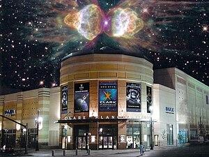 Clark Planetarium - Clark Planetarium Exterior with superimposed nebula.