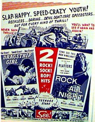 Grindhouse (film) - The poster for a double feature consisting of the films Dragstrip Girl and Rock All Night sparked the idea for Grindhouse.