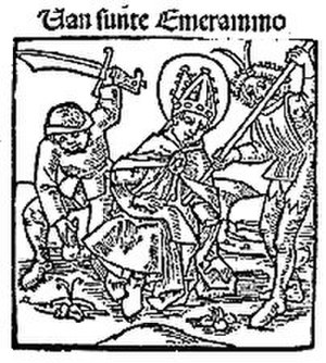 Emmeram of Regensburg - The Martyrdom of Emmeram, a woodcut from the incunabula of Steffen Arndes, Lübeck, 1484