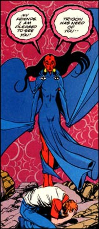"Raven (DC Comics) - Evil Raven makes her appearance in the ""Terror of Trigon"" storyline, which began The New Teen Titans (vol. 2). Art by George Pérez."