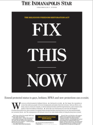Fix This Now - Front page of the Indianapolis Star, March 31, 2015