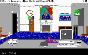 Football Manager (1982 series) - The manager's office screen on the PC. The picture of the team is highlighted so the player will go to the training screen