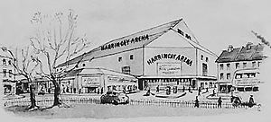 Harringay Arena - Harringay Arena in its local context; sketched in 1954