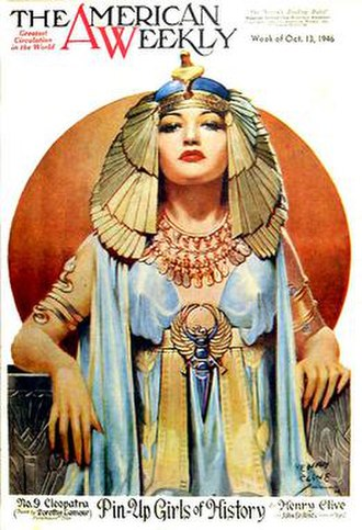 The American Weekly - Henry Clive's painting of Dorothy Lamour as Cleopatra (October 13, 1946)
