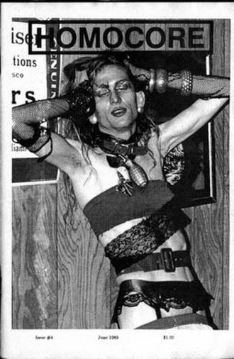 """Jerome Caja - On the cover of the June 1989 issue of Homocore magazine, Caja is shown in """"post-apocalyptic deconstructive drag"""" during a show at the Deaf Club, San Francisco."""