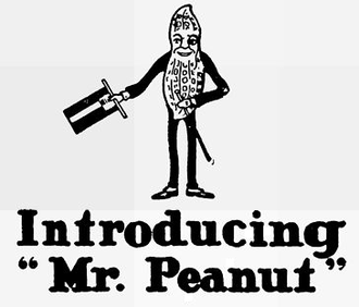 Elmer C. Stoner - The first commercial version of Mr. Peanut created by E. C. Stoner from the competition entry of 14-year-old Antonio Gentile in 1916.