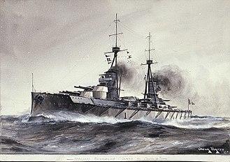 Italian battleship Conte di Cavour - Illustration of Conte di Cavour, c. 1911