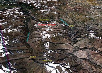 Kinnaur Kailash - Satellite view of the Kinnaur Kailash (draped over SRTM digital elevation model)
