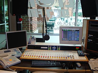 """WKPS - A view of The LION 90.7fm's 2003-2015 """"Room 9"""" studio in the HUB-Robeson Center."""