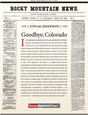 Rocky Mountain News - Image: Last Rocky Mountain News front page