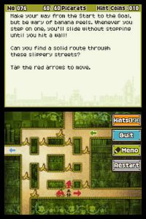 Professor Layton - The puzzle interface for the Professor Layton series allows the player to work out the teaser on the touch screen (bottom) part of the DS display, while following the instructions given on the top screen. This puzzle is from Professor Layton and the Unwound Future.
