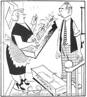 "Fred Neher - Fred Neher's Life's Like That (October 13, 1952). Caption: ""It's from Adam's Bootery... I tried on my one millionth pair of shoes there this afternoon."""