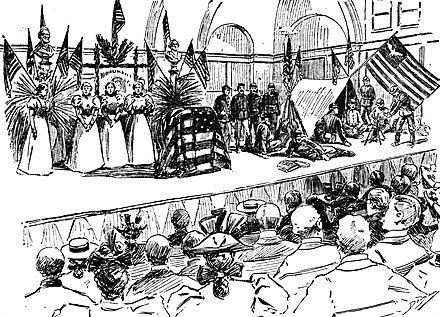 A tableau vivant was given on May 29, 1897, in the auditorium of Girls High School (San Francisco) by Union Army veterans, at right, who sang Tenting on the Old Camp Ground. Lincoln Day observance in San Francisco, May 28, 1897.jpg