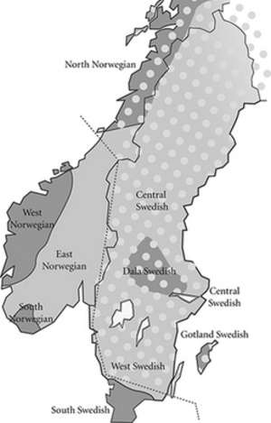 Swedish phonology - Image: Map of the major tonal dialects of Norwegian and Swedish