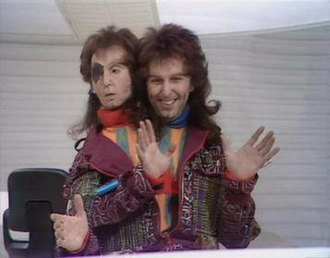 The Hitchhiker's Guide to the Galaxy (TV series) - Mark Wing-Davey as Zaphod Beeblebrox with animatronic second head and third arm.
