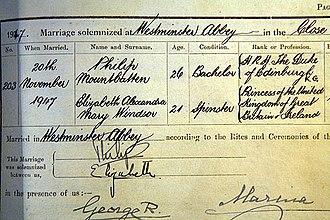 Wedding of Princess Elizabeth and Philip Mountbatten - Image: Marriage certificate of Philip Mountbatten and Elizabeth Windsor