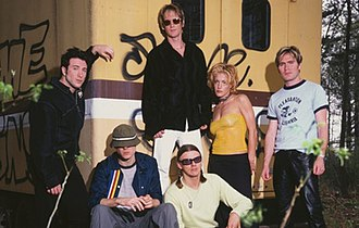New Radicals - New Radicals promotional photo, featuring Alexander (second from left) and Brisebois (second from right) plus members of their touring group.
