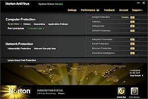 The main GUI of Norton AntiVirus 2011