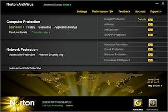 Norton AntiVirus - The main GUI of Norton AntiVirus 2011