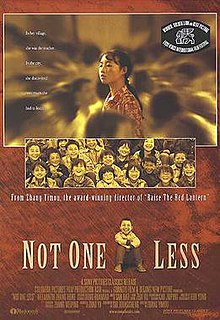 "DVD cover divided into three panels. The first depicts a serious-looking young Chinese woman with braided hair; she is standing, surrounded by blurred faces. The second panel shows a group of laughing children, all looking forward. The third panel shows a seated laughing boy, surrounded by the words, Not One Less. Other writing on the cover says, ""From Zhang Yimou, award-winning director of Raise the Red Lantern"", and the tagline ""In her village, she was the teacher. In the city, she discovered how much she had to learn."""
