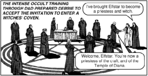 In Dark Dungeons by Jack Chick, a girl gets in...