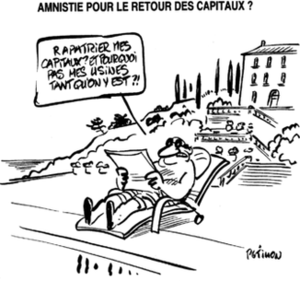 Le Canard enchaîné - The pages of the Canard are peppered with satirical cartoons. Here, René Pétillon mocks wealthy businesspeople who place both their production and their capital offshore.