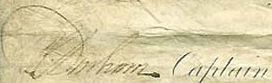 Philip Charles Durham - Signature of Captain Durham on a document after Trafalgar