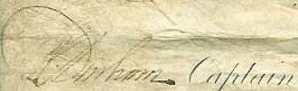 Philip Charles Durham - Signature of Captain Durham on a document after Trafalgar