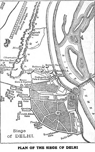 Siege of Delhi - The outline of the siege with the British camp just north of the city