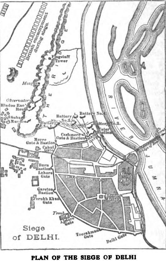 Plan of the Siege of Delhi -Our fighting services - Evelyn Wood pg492