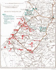 General Headquarters Egyptian Expeditionary Force map shows British Empire forces in red in front of the Nahr Sukherier line with the Ottoman forces indicated to the north in green. The main roads are shown in brown.