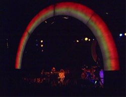 Rainbow performing in Munich in 1977. The electric rainbow that spanned the stage frequently interfered with the guitars and amplifiers.