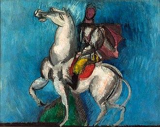 Raoul Dufy - Le Cavalier arabe (Le Cavalier blanc) oil on canvas, Musée d'Art Moderne de la Ville de Paris (1914)