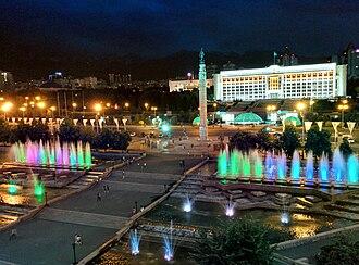 Republic Square, Almaty - Image: Republic Square at night