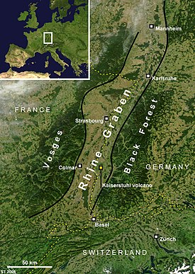 Satellite image showing the geography of the Upper Rhine Graben and the rift flanks of Vosges, France, and the Black Forest, Germany.