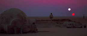Tatooine's sunset has two suns, the result of a binary star system. This shot from A New Hope is alluded to in Attack of the Clones and Return of the Jedi, and recreated as the final shot of Revenge of the Sith.