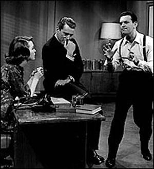 NBC Sunday Showcase - Barbara Rush, John Forsythe and Larry Blyden in a scene from What Makes Sammy Run? on NBC Sunday Showcase (September 27 and October 4, 1959).