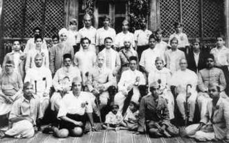 Hindu Mahasabha - A group photo taken in Shimoga in 1944 when Vinayak Damodar Savarkar (seated fourth from right, second row) came to address the State-level Hindu Mahasabha conference. The late Bhoopalam Chandrashekariah, president of the Hindu Mahasabha State unit, is seated to Savarkar's left.